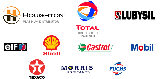 Our lubricant suppliers - Houghton, Total, Lubysil, Elf, Shell, Castrol, Mobil