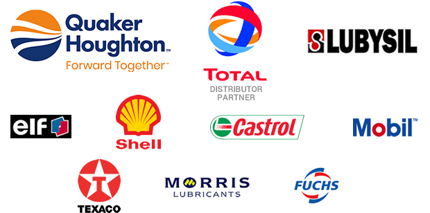 Our lubricant suppliers - Quaker Houghton, Total, Lubysil, Elf, Shell, Castrol, Mobil